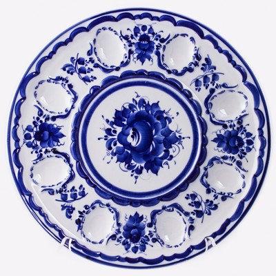 Easter Egg Dish. Blue&White Porcelain. Gzhel