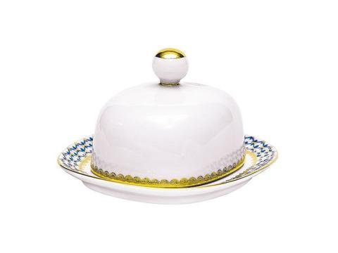 Butter Dish with Cover  Rectangular Cobalt Net