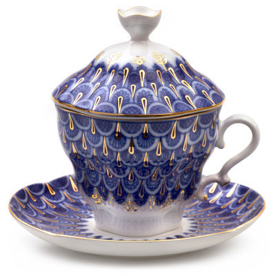 Flakes Teacup w/ Saucer and Lid