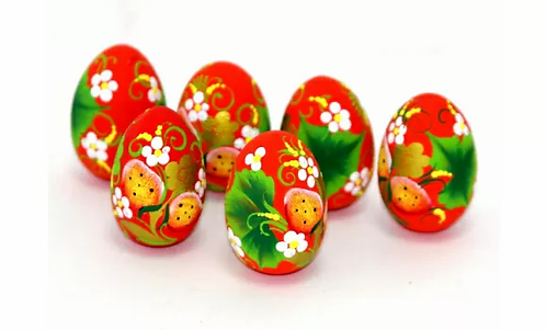 Wooden Egg Berries/ Red