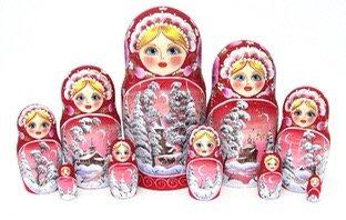 Matryoshka Winter/ 10 dolls/ 25cm
