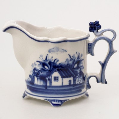 Village Cream Jug. Blue&White Porcelain. Gzhel