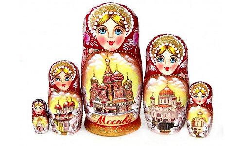 Matryoshka Moscow Sepiya/ 5 dolls/14cm