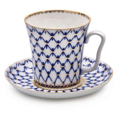 Cobalt Net Mug w/ Saucer
