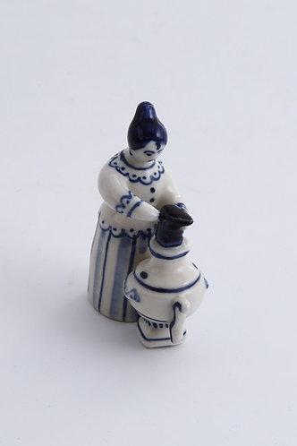 Girl with Samovar Figurine. Blue&White Porcelain. Gzhel.