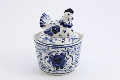 Hen Box. Blue&White Porcelain. Gzhel.