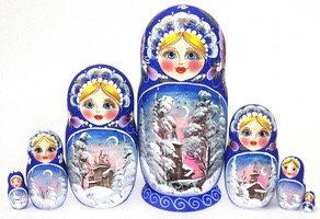 Matryoshka Winter Blue /7 dolls/ 21cm