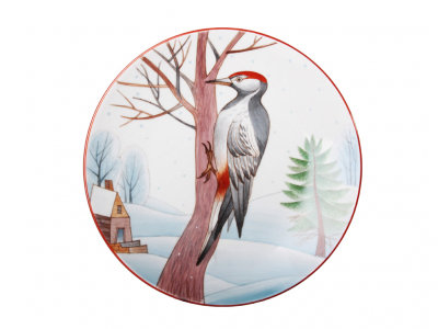Decorative Wall Plate Spotted Woodpecker
