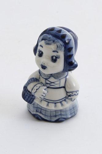 Red Hat Girl Figurine. Blue&White Porcelain. Gzhel.