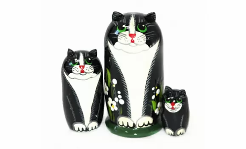 Matryoshka Black Cat/3 dolls/ 9cm
