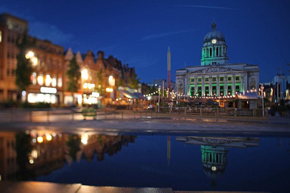 Nottingham Old Market Square at night
