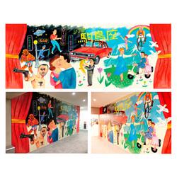 2018 そごう千葉店ジュンヌ内「シアター駒鳥座」壁画イラスト