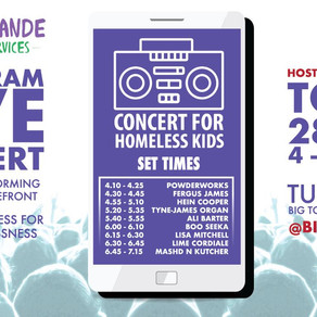 TUNE INTO 'CONCERT FOR HOMELESS KIDS' TODAY! FEATURING LIME CORDIALE, LISA MITCHELL TYNE-JAMES ORGAN