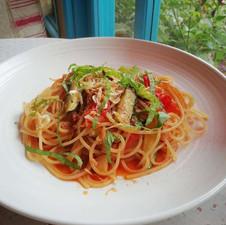 ズッキーニとトマトと青しそのスパゲッティ
