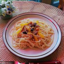パプリカといろいろなお豆のスパゲッティ