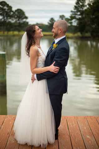 Bride and Groom waterfront wedding