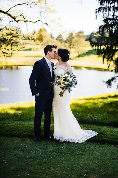Golden hour bride and groom portraits at Piney Branch Golf Course in Maryland