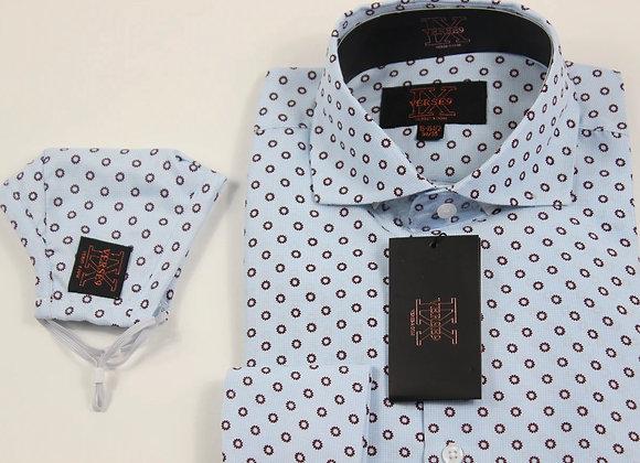 Blue & Brown Teardrop Shirt and Mask Combo
