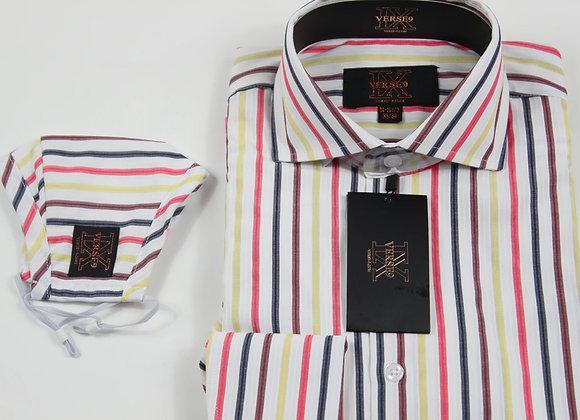 Wine Multi Stripe Shirt and Mask Combo