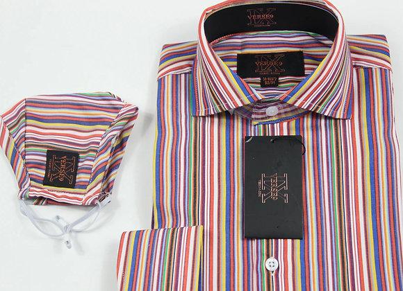 Orange Multi Stripe Shirt and Mask Combo