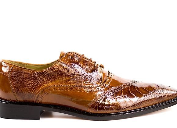 Nino, Ostrich and Eel Quarter Brogue Derby Dress Shoe, Style: 0B4