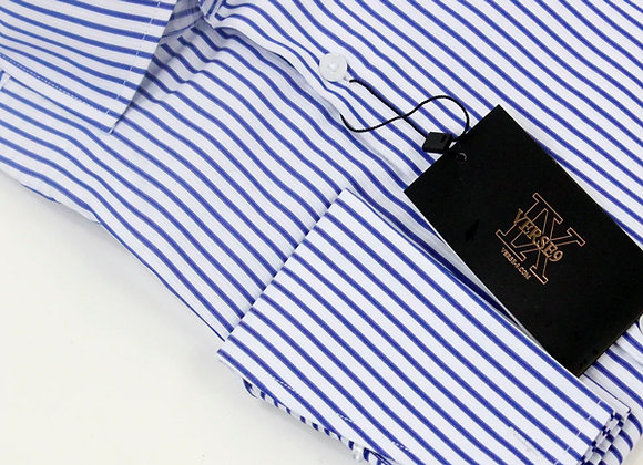 Blue Stripe British Spread Collar Shirt with French Cuff