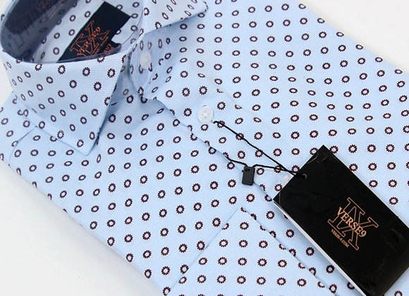 Blue & Brown Teardrop British Spread Collar Shirt with French Cuff