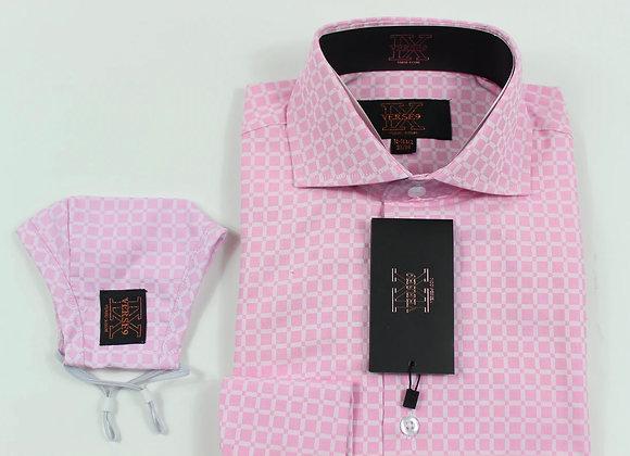 Pink Window Pane Shirt and Mask Combo