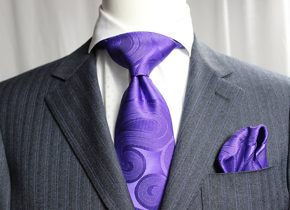 SOLID FIAT 9 - 7 FOLD TIE & POCKET SQUARE