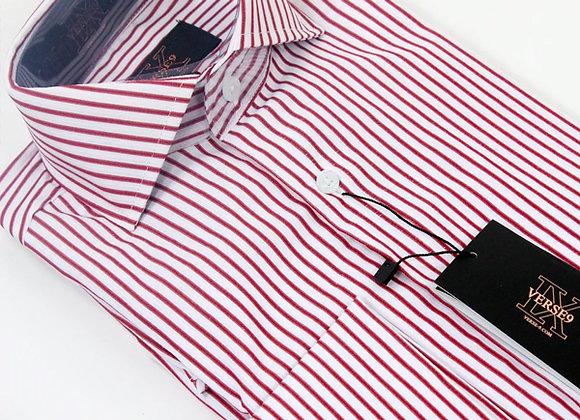 Wine Stripe British Spread Collar Shirt with French Cuff