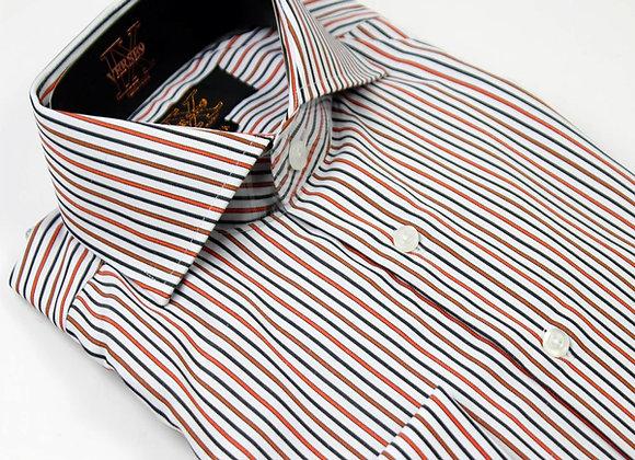 Black & Rust Stripe British Spread Collar Shirt with French Cuff