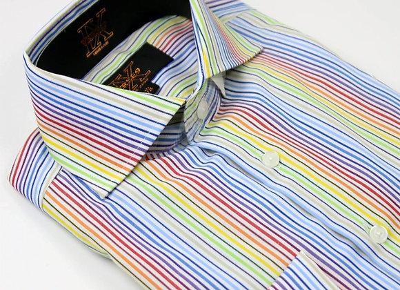 Rainbow Stripe British Spread Collar Shirt with French Cuff