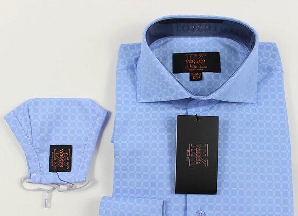 Blue Window Pane Shirt and Mask Combo