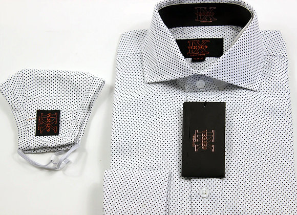 Black & White Pindot Shirt and Mask Combo