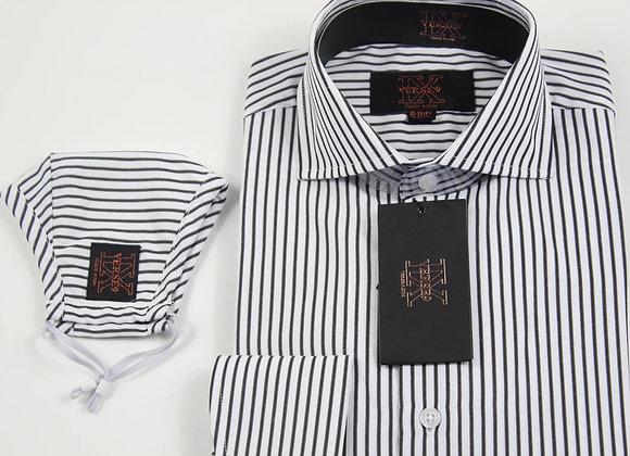 Black Stripe Shirt and Mask Combo