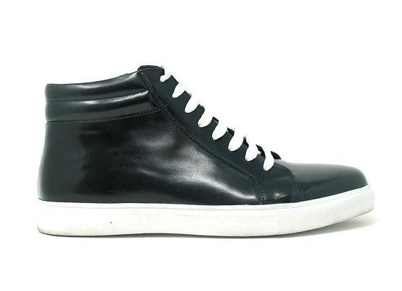 KB670-13 High Top Side Zipper Leather Sneaker