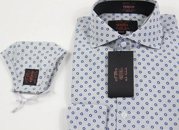 Grey & Blue Teardrop Shirt and Mask Combo