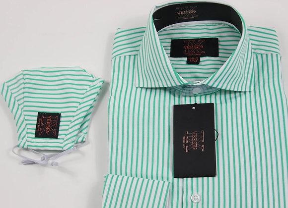 Lime Stripe Shirt and Mask Combo