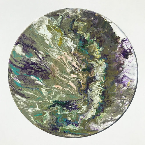 Upcycled Acrylic Pour on Vinyl LP Clock 9
