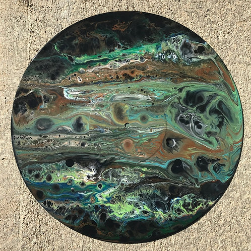 Upcycled Acrylic Pour on Vinyl LP Clock 7