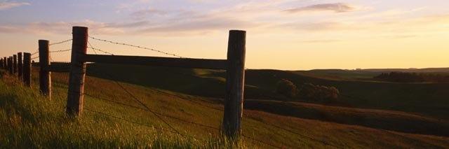 """Fence at Sunset (image size 6"""" x 18"""") Palouse region of Washington State"""