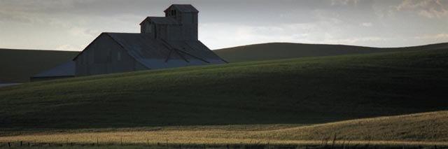 """Metal Barn at Dusk (image size 6"""" x 18"""") Palouse region of Washington State"""