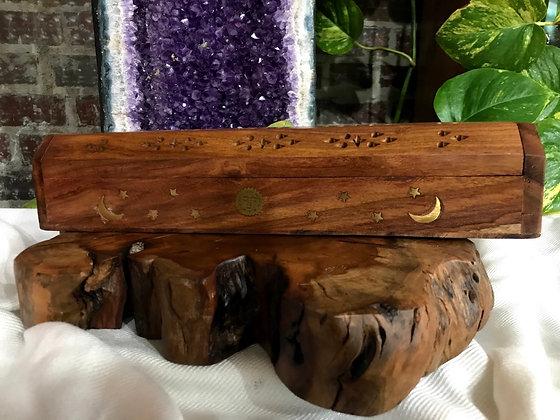 Sun, Moon, & Stars Celestial Wooden Coffin Box with Brass Inlay