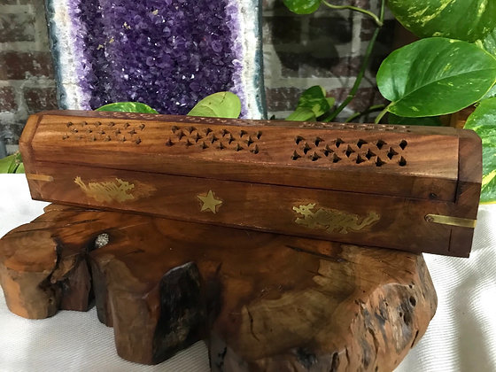 Dragon Wooden Coffin Box with Brass Inlay