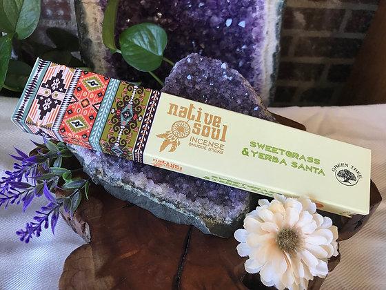 Native Soul Sweetgrass & Yerba Santa Incense Smudge Sticks