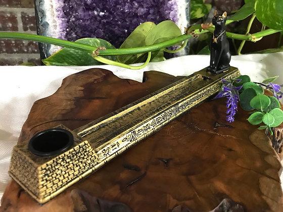 Egyptian Bastet Cast Resin Incense Burner & Candle Holder
