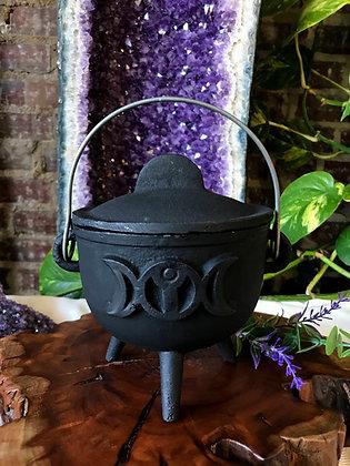 Cast Iron Triple Moon Goddess Cauldron (Medium)