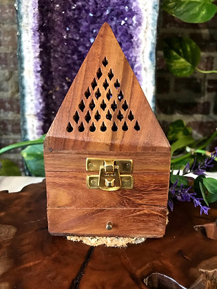 Wooden Pyramid Cone Incense Burner & Candle Holder with Storage Drawer