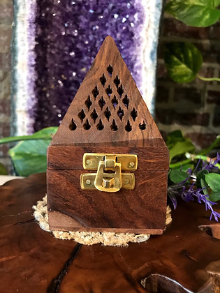 Wooden Pyramid Cone Incense Burner & Candle Holder