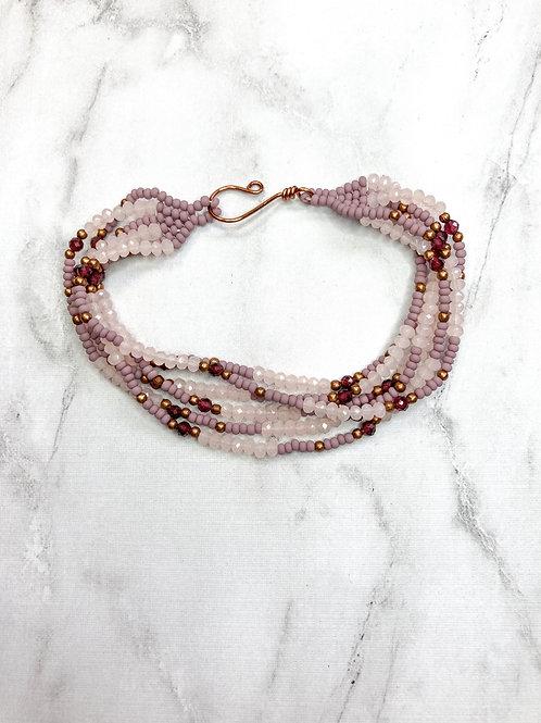 Multi Strand Beaded Bracelet - Purple/Pink
